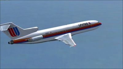United Airlines Boeing 727-200 in flight.