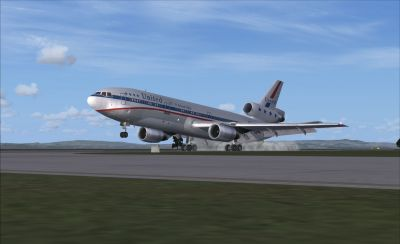 United Airlines Douglas DC-10-10 taking off.