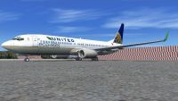 United Airlines Eco Skies Boeing 737-800W on tarmac.
