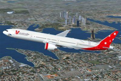 V Australia Boeing 777-300 ER in flight.