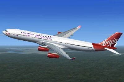 Virgin Atlantic Airbus A340-300 in flight.