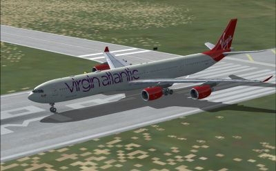 Virgin Atlantic Airways Airbus A340-600 on runway.