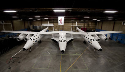 Virgin Galactic's Space Ship Two in the hangar