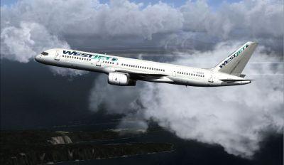 WestJet Boeing 757-200 in flight.