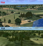 Before and after shot with scenery used in FSX.