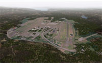 Screenshot showing airport scenery in X-Plane flight simulator.