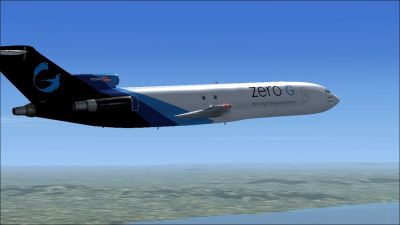 Zero G Boeing 727-200F in flight.