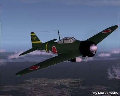 Screenshot of green camo A6M2 Zero in flight.