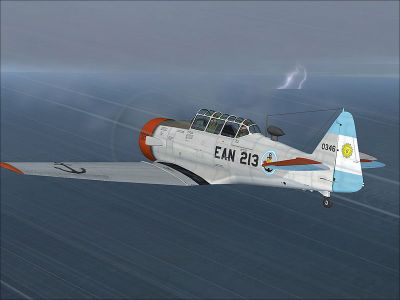 Screenshot of Argentinian Navy North American T-6 EAN-213 flying in a storm.