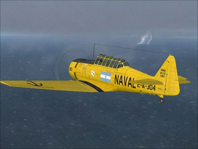 Screenshot of Argentinian Navy North American T-6 flying in a storm.