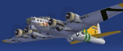 Screenshot of B-17G A Bit O'Lace 1944, in flight.
