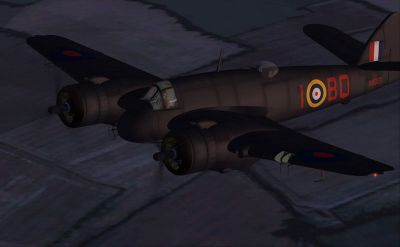Screenshot of Bristol Beaufighter flying at night.