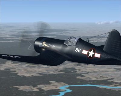 Screenshot of Corsair in flight.