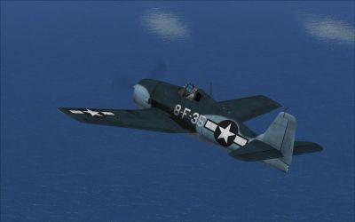 Screenshot of Grumman F6F3 VF8 in flight.