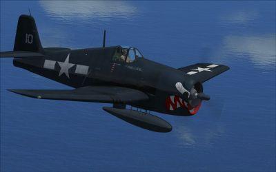 Screenshot of Grumman F6F5 VF27 in flight.
