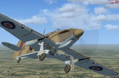 Screenshot of Hawker Hurricane IId with landing gear down.