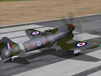 Screenshot of Hawker Tempest VI on runway.