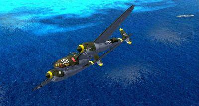 Screenshot of Lockheed P-38J 'Skidoo' flying over water.