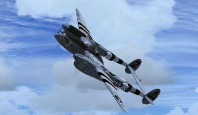 Screenshot of Lockheed P-38J 'Sleepy Time Gal' in flight.