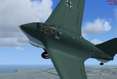 Screenshot of Messerschmitt Me-163B Komet in flight.