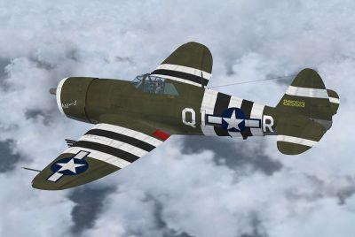 Screenshot of P-47D Razorback KAY-J with stripes.