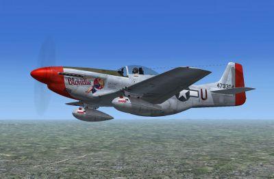 Screenshot of P-51D 'Blondie' 4th FG 1945 in flight.