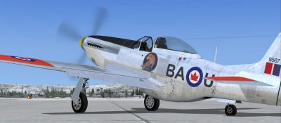Screenshot of RCAF P-51D Mustang CF-BAU on the ground.