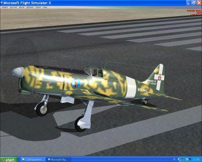 Screenshot of green camo SAI Ambrosini 207 on the ground.
