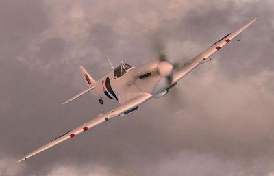 Screenshot of Spitfire FR MKIX MK716 in flight.