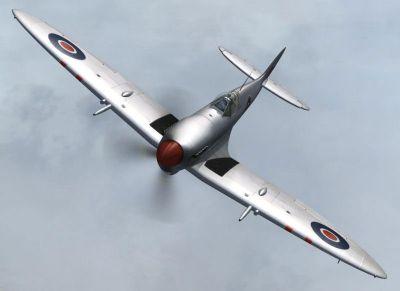 Screenshot of Spitfire FVIII 5501 in flight.