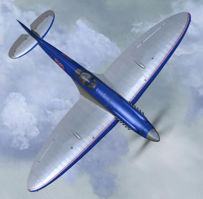 Top down view of Spitfire Mk XIV 'Bluebird' Racer in flight.