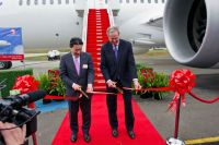 JAL's JA825A opening ceremony.