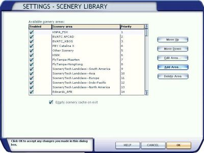 Settings - Scenery Library menu.
