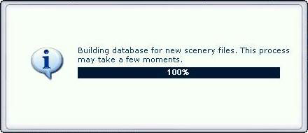 Building database for new scenery files dialog box.