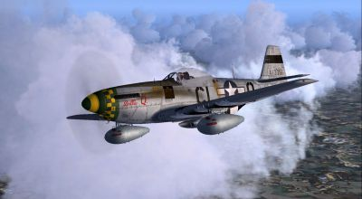 Screenshot of 55th FG P-51D-5 'Dottie Q' in flight.