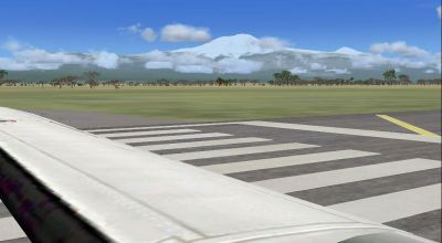 View of Mt. Kilimanjaro from the runway.
