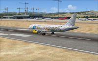 Screenshot of plane on runway at Malaga Airport, Spain.
