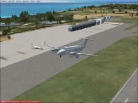 Screenshot of plane taking off from TISX Airport.