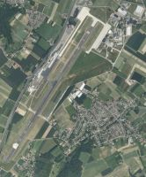 Aerial view of Maastricht Airport.