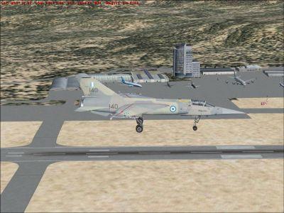 Screenshot of jet flying over LGSA.