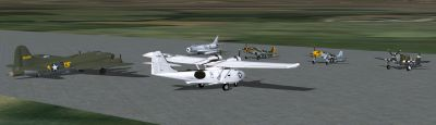 Screenshot of multiple ACG Historic aircraft on the ground.