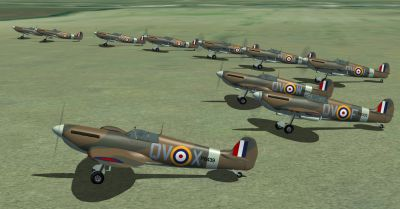 Screenshot of planes in formation on the ground.