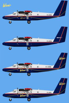 Picture of four livieries for the AI Winair DHC6 Twin Otter.