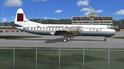 Screenshot of Aerocondor de Colombia Lockheed Electra II on the ground.