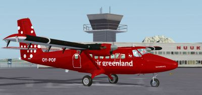 Screenshot of Air Greenland DeHavilland Twin Otter 300 on the ground.
