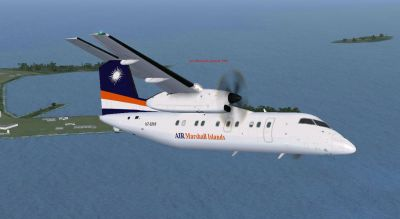 Screenshot of Air Marshall Islands Bombardier Dash 8-100 in flight.
