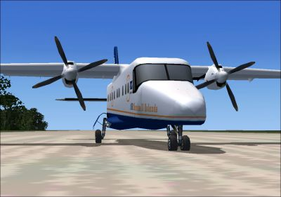 Screenshot of Air Marshall Islands Dornier Do 228 on runway.