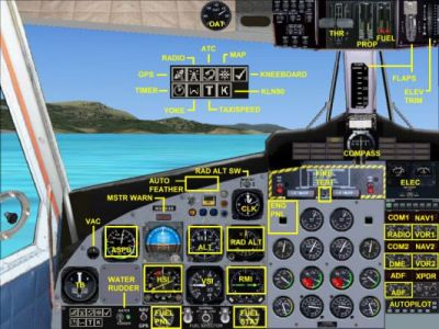 Virtual cockpit of Air Tindi DeHavilland DHC6-300.