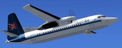 Screenshot of AirUK Fokker F50 in flight.