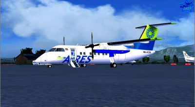Screenshot of Aires Colombia DeHavilland DHC-8-Q200 on the ground.